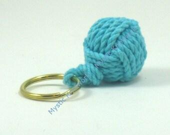 Nautical Keychain Turquoise Monkey Fist Compact Style
