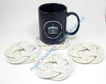 Nautical Weave White Coasters Turk's Head Knots in Natural White Set of 4 woven rope coaster