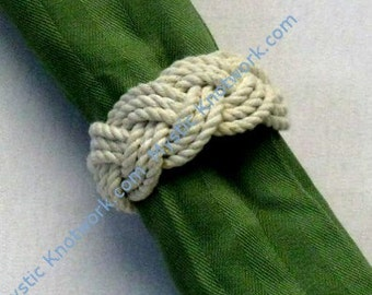 Nautical Knot Napkin Rings Natural White Pack of 4