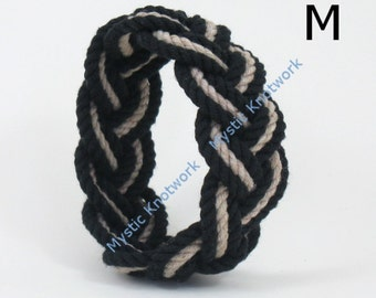 Rope Bracelet Sailor Knot Black and Tan Cotton