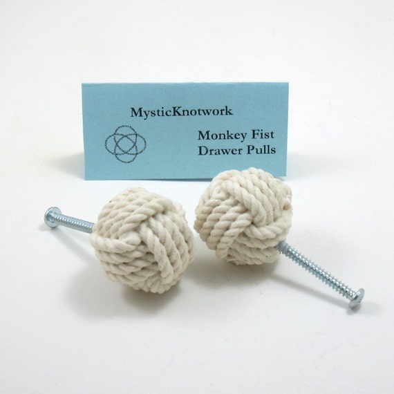 Nautical Drawer Pull Monkey Fist Knob Drawer Pulls White Coastal woven knobs Set of Two