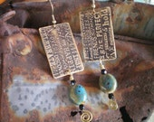 Words etched brass earrings with wonderful words beautiful blue ceramic beads inspirational jewelry dangle earrings etched metal jewelry