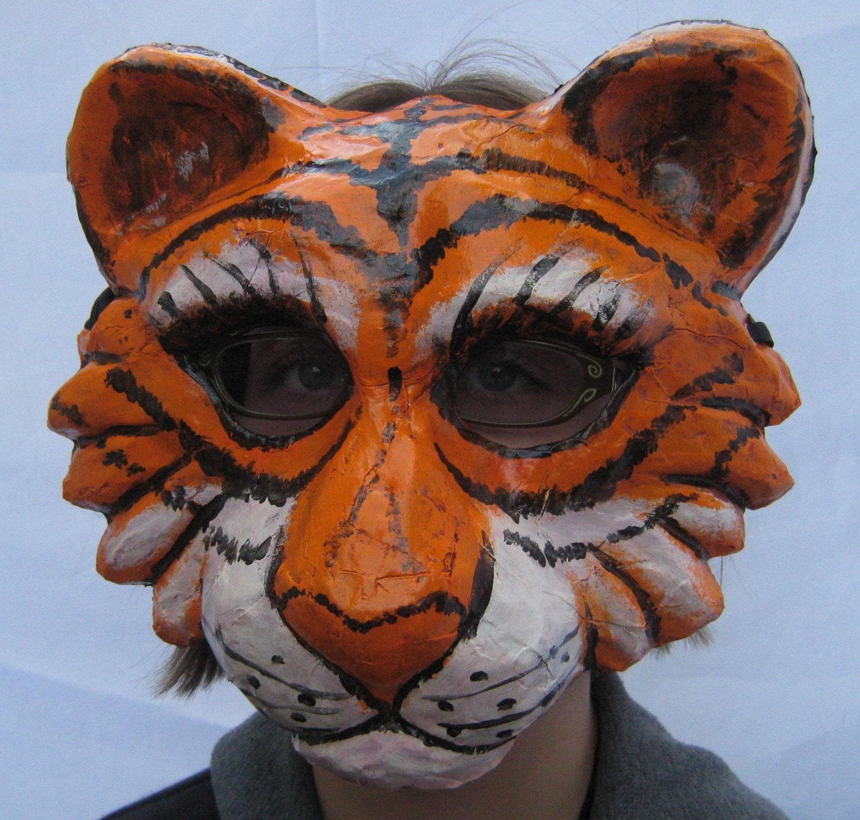Tiger paper mache mask for Paper mache mash
