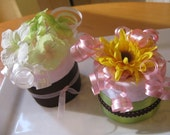 Set of 4 Pink Lemonade Flower Diaper Cupcakes in a Gift Box