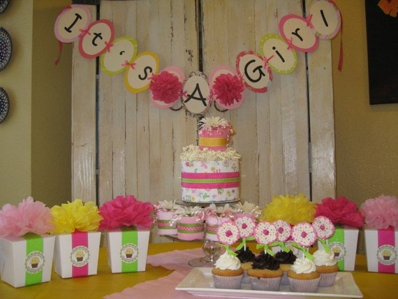 it 39 s a girl baby shower party decoration package diaper cake and