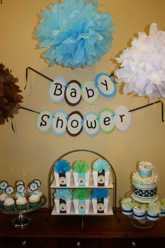 Boy baby shower table decor photograph baby boy shower par for Baby shower diaper decoration