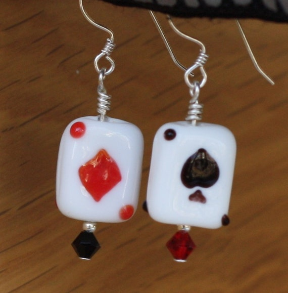 "Playing Card Earrings with Sterling Silver Earwires - ""Ace Up Her Sleeve"""