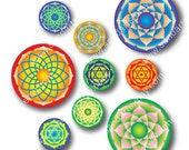 Mandala 1 inch and 2 inch circles. Digital Collage Sheet. download and print image