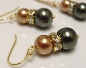 Fall colors Glass Pearls Earrings and Necklace set, Bridesmaid Jewelry, Bridal Party, Wedding, mother's day gift, for her