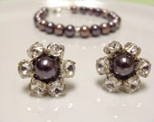 Bridesmaid Jewelry Set Rhinestone Flower and Glass Pearl Stud Earrings & matching Glass Pearl Bracelet Dark purple and Mauve, Wedding party