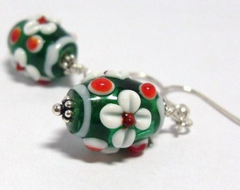 Holiday Earrings, Red and Green Lampwork beads earrings, Christmas, Xmas,  Festive earrings, Stocking stuffer, Thank you gift for teacher