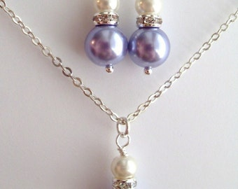 Lavender and White Glass Pearls with Rhinestone Rondelles Earrings and Necklace Set, Bridesmaid Jewelry Wedding, Birthday gift