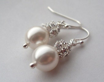 Bridal Earrings, GRACE Swarovski Pearl and Rhinestone Ball Earrings, Bridesmaids, Wedding, Party, Holiday Christmas gift, Stocking stuffer