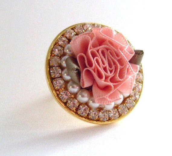READY to SHIP Cocktail Statement Ring Pink Flower Pearls and Rhinestones, Wedding, Bridal Party, OOAK, Breast Cancer Awareness