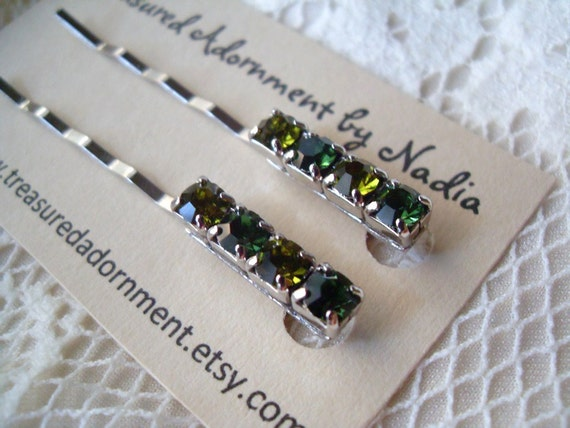 READY to SHIP Green and Peridot Rhinestone Bobby pins in silver set of two, Bridesmaids women hair pins hair clips Barrettes, holiday gift