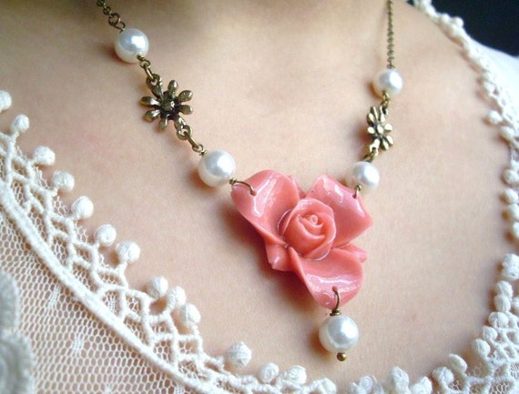 Romanticism Pink Rose and White Glass Pearls Antiqued Brass Necklace, Wedding Bridesmaids Jewelry, Breast Cancer Awareness, Holiday gift