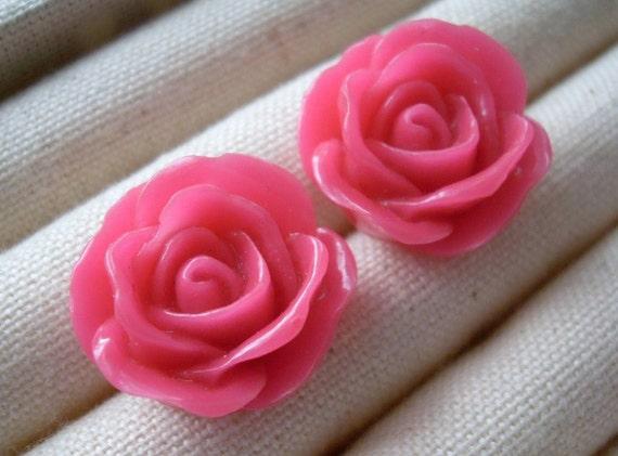 Rose earrings, Hot Pink Rose Stud Earrings, Bridesmaids, Breast Cancer Awareness, birthday present