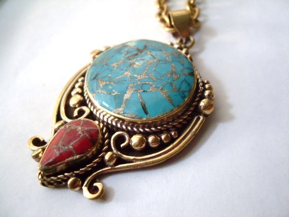 RESERVED for Christine: Tibetan Brass Pendant Gold inlay Circle Turquoise and Red Teardrop, Necklace, Holiday gift, Raw Brass, OOAK, BOHO