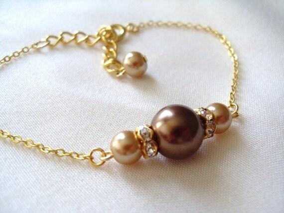Bridesmaids Bracelet, Chocolate Brown and Champagne Glass Pearls Bracelet, Wedding, bridal party gift, Birthday gift, Maid of Honor gift
