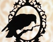 Perched Raven - PREORDER framed raven necklace in black stainless steel