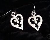 Silver Heart earrings in stainless steel - hypoallergenic earrings, fleur de lis earrings, heart jewelry, alice in wonderland jewelry