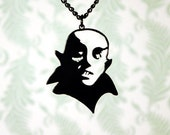 Nosferatu vampire necklace in black stainless steel - dracula vampire jewelry - silhouette horror necklace, monster necklace, horror jewelry