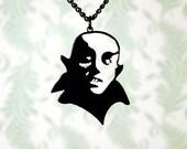 Nosferatu vampire necklace in black stainless steel - dracula vampire jewelry - silhouette horror necklace, monster necklace, horror jewelry