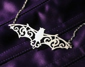 RESERVED for christykeefe - Filigree Victorian Bat necklace in silver stainless steel - ornate flourish