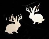 Jackalope earrings in silver stainless steel - jackelope silhouette - FREE SHIPPING