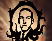 H.P. Lovecraft Cthulhu homage necklace in black stainless steel - horror science fiction sci fi geekery jewelry