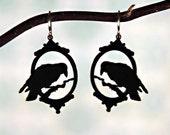 PREORDER - Victorian Raven Halloween earrings in black stainless steel - bird cameo earrings silhouette jewelry