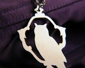 Silhouette Owl necklace in silver stainless steel - woodland bird jewelry - silver owl jewelry