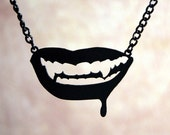 Vampire Necklace - Dark Beauty Magazine - in black stainless steel - Vampire Fangs teeth jewelry