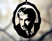 Vincent Price homage necklace in black stainless steel - horror sci fi portrait pendant