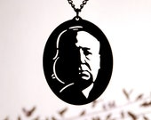 Alfred Hitchcock homage necklace in black stainless steel - horror jewelry film noir geekery