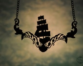 Black Pirate Ship necklace in stainless steel - steampunk statement necklace, boat necklace, nautical jewelry, collar necklace