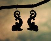 Dolphin Silhouette Nautical earrings in black stainless steel - hypoallergenic fish earrings