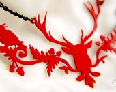 Deer Raven silhouette necklace in red stainless steel - stag with crows jewelry