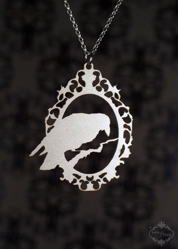 Cameo Raven necklace - steampunk silver crow jewelry - Crow pendant - Raven Jewelry - Raven Pendant