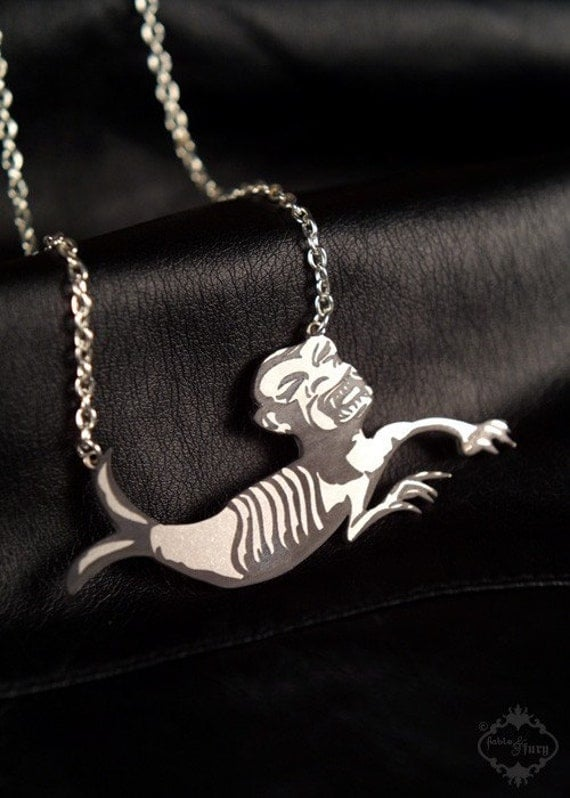 Fiji Mermaid Circus Sideshow Freak necklace in etched stainless steel - sideshow gaff