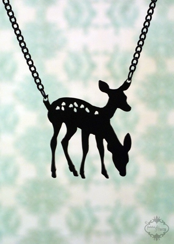 Conjoined Twin Deer necklace in black stainless steel - woodland animal bambi deer silhouette - friendship jewelry