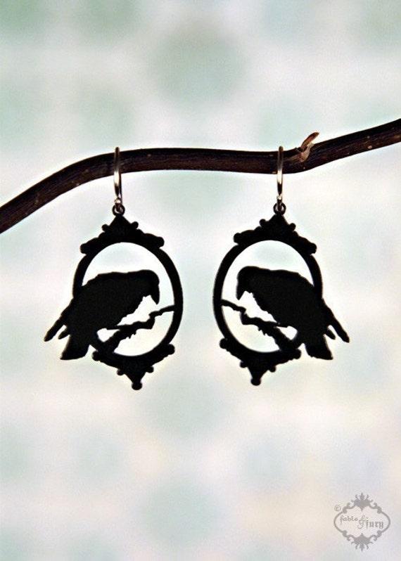 Halloween Earrings - Victorian Raven earrings in black stainless steel - bird cameo earrings silhouette jewelry
