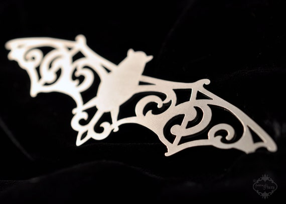 Halloween Womens Ornate Bat statement necklace in silver or black stainless steel - large silhouette vampire bat jewelry