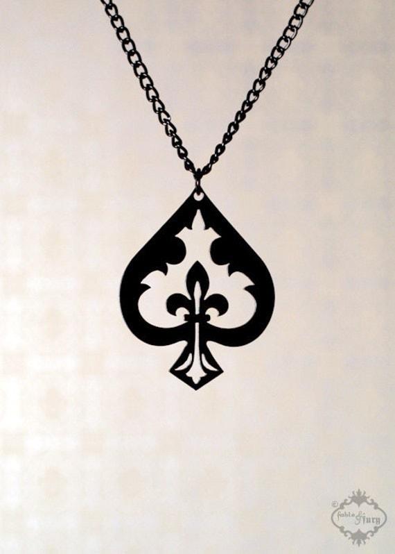 Fleur De Lis Spade Necklace In Black Stainless Steel Alice