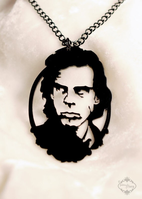 Nick Cave tribute portrait necklace in black stainless steel - music silhouette jewelry