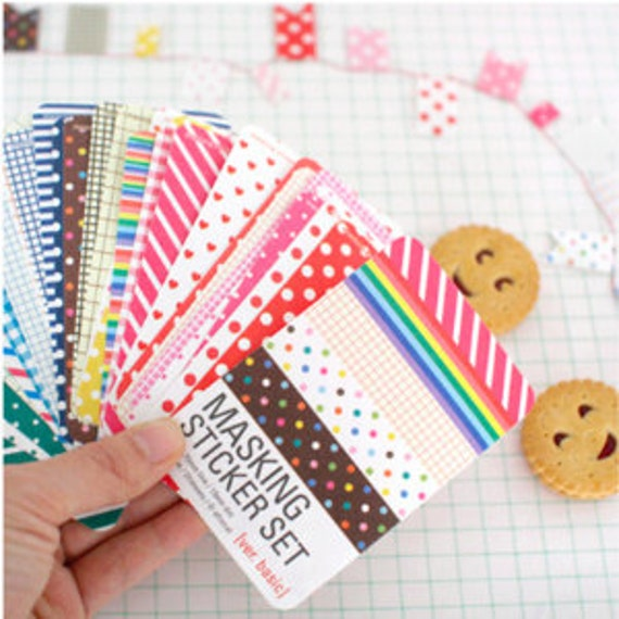 Cute masking pastel sticker set for diary highlights or scrapbooking