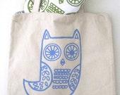 SALE Owl small shopper - in blue