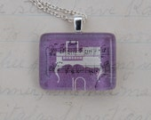 White Piano on Purple with Written Music, Upcycled Postage Stamp Jewelry/Jewellery, Sterling Silver Chain