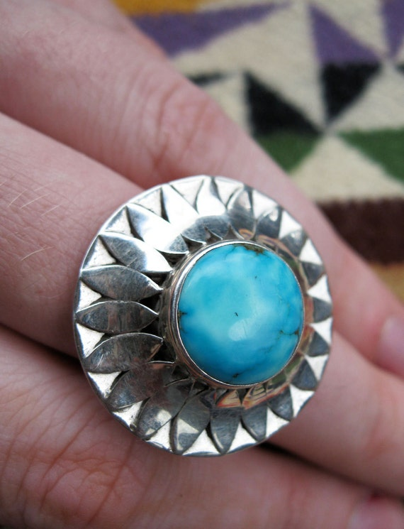 RESERVED for LINDA-Turquoise Petal Bloom Ring