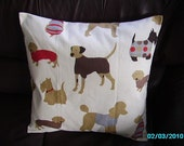Throw pillows Lots of dogs cream red green cover case sham gorgeous fabric 18 x 18 handmade